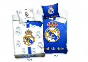 Lenjerie pat Real Madrid, 2 piese, 140x200cm, fata dubla, bumbac