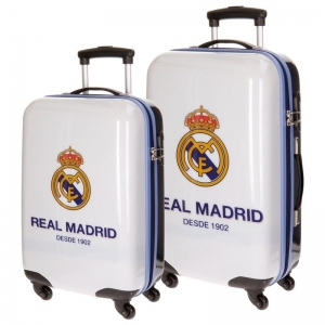 Set 2 Valize-Troller Real Madrid, ABS, 4roti, 55cm si 67cm, alb