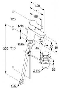 Baterie chiuveta monocomanda cu ventil inclus, culoare crom, KLUDI PURE&EASY2