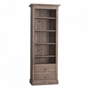 Biblioteca cu 2 sertare, etajera deschisa cu finisaj periat usor0
