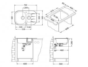 Chiuveta de bucatarie 2 cuve incastrabila, montare reversibila, sticla + inox, Alveus Wave 30