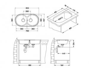 Chiuveta de bucatarie incorporabila, inox crom, 2 cuve, Alveus Form 501