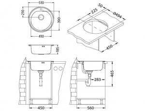 Chiuveta bucatarie rotunda, Alveus Form 301