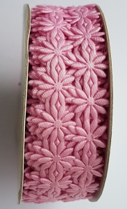 Dantela flori roz - saten