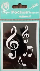 Sablon plastic autoadeziv, note muzicale