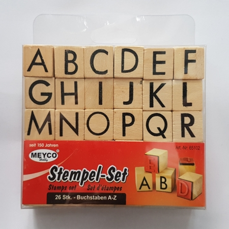 Stampile din cauciuc pe suport de lemn - Alfabet
