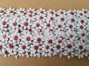 Dantela floricele cu miez  bordo 9.5m