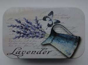 Cutie decorativa din metal, tinichea, just lavender
