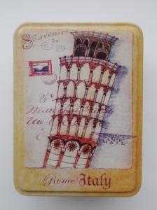 CUtie decorativa din metal, turnul din Pisa