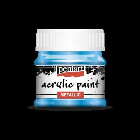 Vopsea acrilica metalizata 50 ml - Albastru deschis
