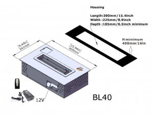 Semineu bioetanol BL40 - compact, cu telecomanda