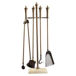 Set vatrai semineu Marble - auriu patinat, 4 accesorii