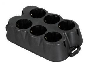Multipriza 6 P cauciuc negru 16A