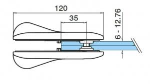 Incuietoare portita balustrada sticla/sticla