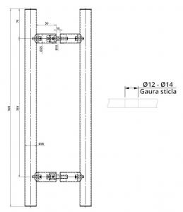 Maner rotund, interax 350 mm, L=500 mm