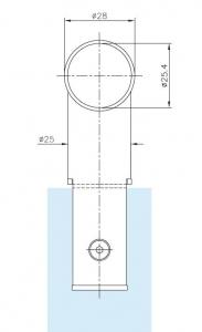 Conector 90° teava Ø25 mm compartimentare toaleta