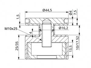 Prindere punctuala cu gat Ø45 mm reglabila 25-35 mm