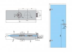 Set Arcos Studio broasca fara incuiere + 2 balamale usa sticla 8 mm