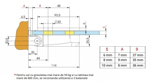 Balama hidraulica cabina dus perete/sticla Bilobina1