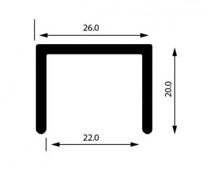 Profil U mana curenta, sectiune 26x20 mm