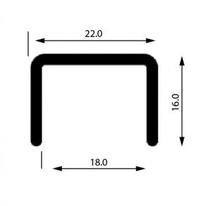 Profil U mana curenta, sectiune 22x16 mm