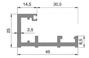 Profil parte fixa Alexa AT45 sticla 10-12 mm