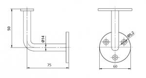 Suport perete 75x50 mm mana curenta patrata 40x40 mm