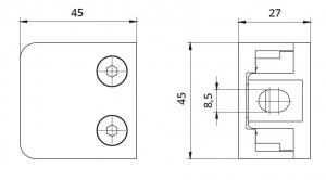 Clema MOD 21 fixare pe drept pentru montant balustrada sticla 6-10,76 mm