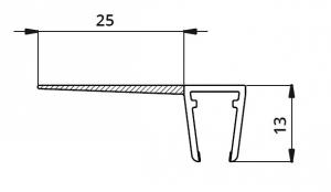 Garnitura ultraclara cu banda 25 mm la 90° cabina dus sticla 8 mm