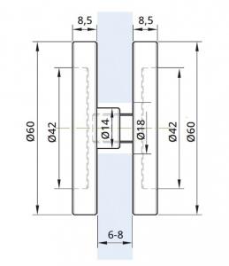 Maner scoica Ø60 mm, sticla 6-8 mm