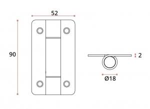 Balama usa sticla/HPL 10-13 mm compartimentare toaleta