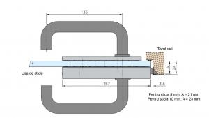 Broasca fara incuiere usa sticla 8-10 mm