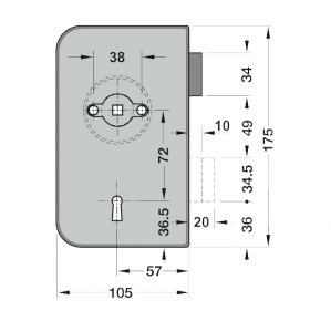 Broasca Junior Office incuiere din cheie usa sticla 8-10 mm