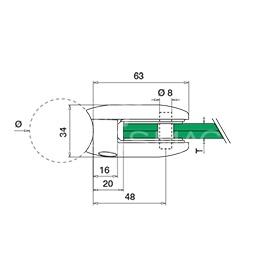 Clema sticla, 45x63mm, G=10 mm , Ø42.4 mm ,inox satinat