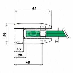 Clema sticla, 45x63mm, G=12.76 mm ,inox satinat
