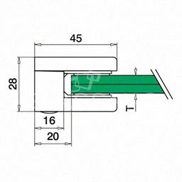 Clema sticla, 45x45mm, G=8.76 mm ,zinc alb