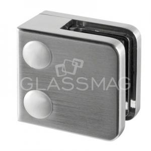 Clema sticla, 45x45mm, G=8 mm ,zinc cu efect de inox satinat