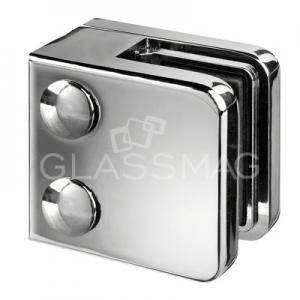 Clema sticla, 45x45mm, G=9.52 mm ,zinc cu efect cromat lucios