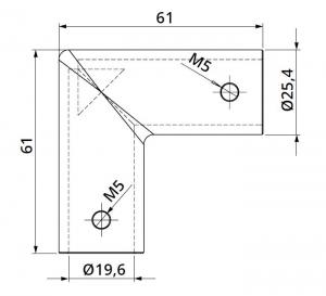 Conector 90° bara stabilizare cabina dus teava/teava1