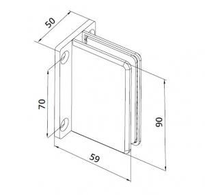 Conector cabina dus perete/sticla S1000 SHH 306