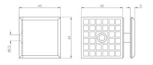 Conector cu talpa cabina dus perete/sticla 90°
