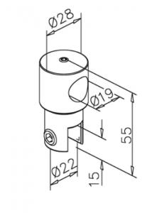 Conector fara trecere 180° bara stabilizare cabina dus teava/sticla1