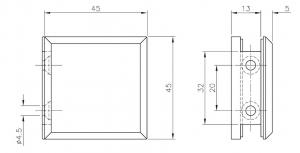 Conector cabina dus perete/sticla 90°1