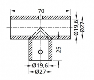 Conector T bara stabilizare cabina dus teava/teava