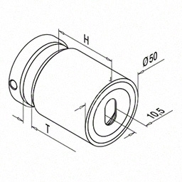 Conector sticla, reglabil, Ø 50 mm, inox satinat
