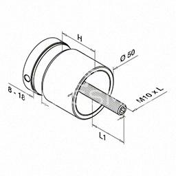 Conector sticla, Ø 50 mm, inox satinat