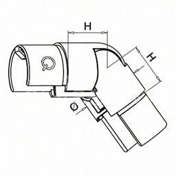 Cot reglabil in jos pentru mana curenta profilata rotunda, Ø42.4 mm ,inox satinat