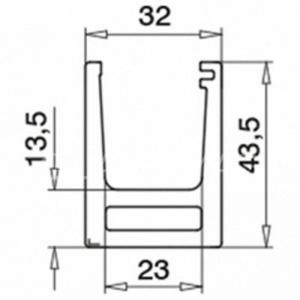 Profil U Easy Glass Hybrid fixare pardoseala, montaj la exterior, aluminiu eloxat
