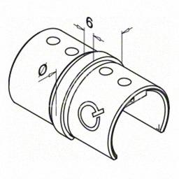 Piesa de legatura  mana curenta profilata rotunda, Ø48.3 mm ,inox satinat