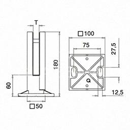 Prindere punctuala pardoseala ,G=17.52 mm ,inox satinat, MOD 62
